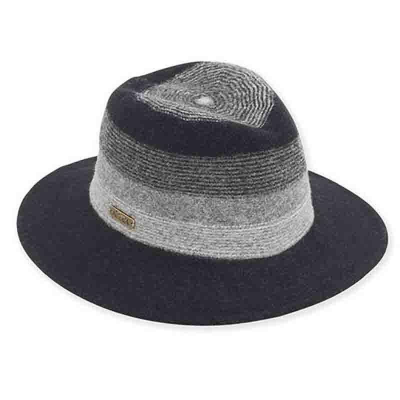 Goldie Knit Wool Safari Hat by Adora® - Black