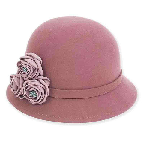 Dusty Rose Cloche Hat with Flowers by Adora®