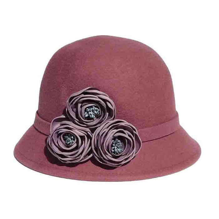 Dusty Rose Cloche Hat with Flowers by Adora® - SetarTrading Hats