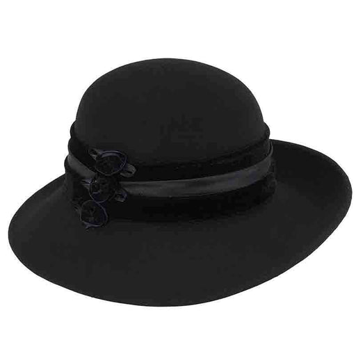 Large Brim Satin Adorned Wool Felt Hat by Adora®-Black