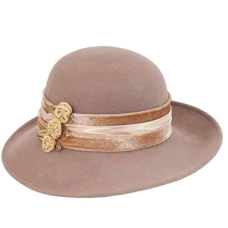 Large Brim Satin Adorned Wool Felt Hat by Adora®-Camel