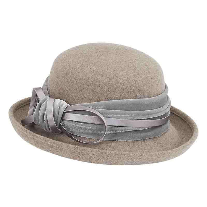 Velvet Band Wool Felt Bowler Hat by Adora®-Grey