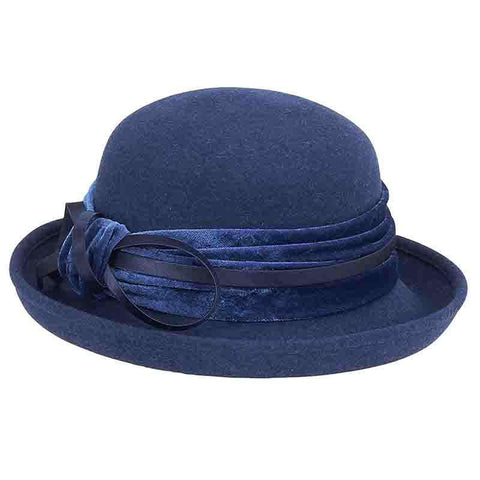 Velvet Band Wool Felt Bowler Hat by Adora®-Navy