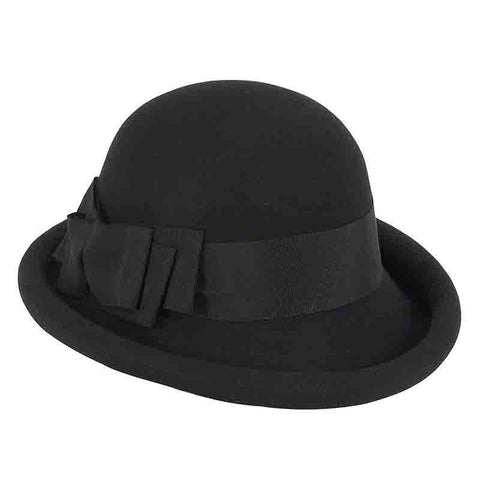 Rolled Brim Wool Felt Bowler Hat by Adora®-Black