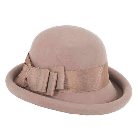 Rolled Brim Wool Felt Bowler Hat by Adora®-Pecan