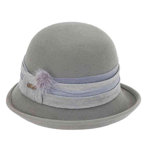 Up Turned Brim Cloche Hat with Pom Pom by Adora®-Grey