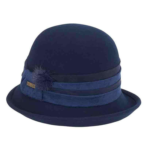 Up Turned Brim Cloche Hat with Pom Pom by Adora®-Navy