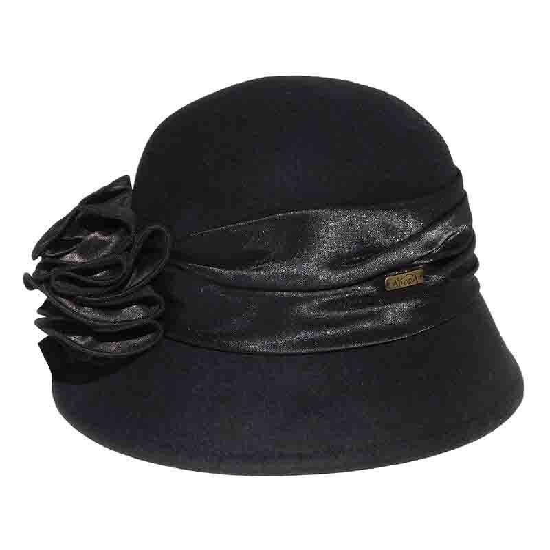 Satin Adorned Cloche Hat by Adora®-Black