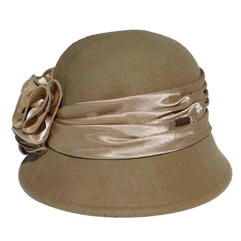 Satin Adorned Cloche Hat by Adora®-Camel