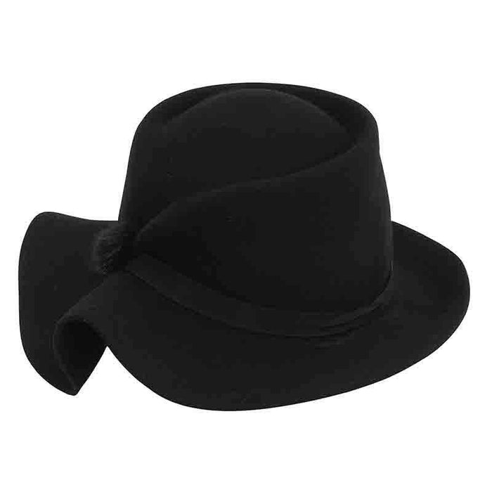 Structured Folded Brim Wool Felt Hat by Adora®-Black