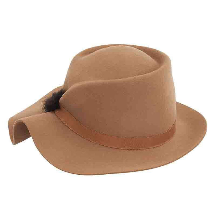 Structured Folded Brim Wool Felt Hat by Adora®-Camel