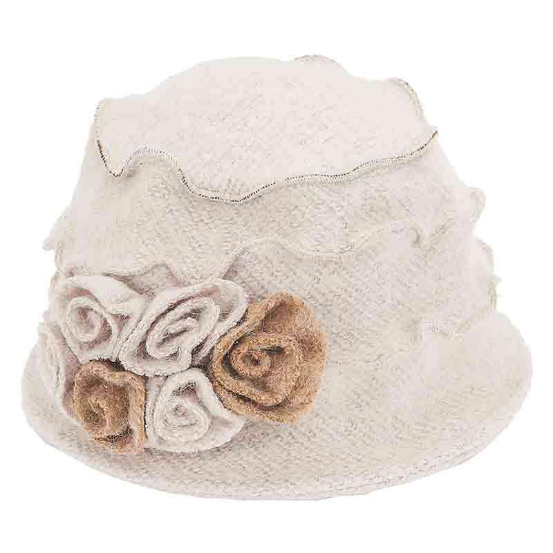 Boucle Beanie Cap with Rose Buds by Adora® - SetarTrading Hats