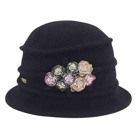Boiled Wool Beanie Cap with Satin Rosette by Adora®