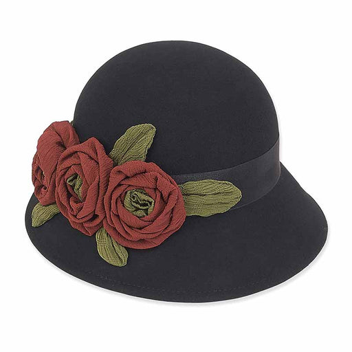 ad966 adora hats cloche hat with chiffon rose accent