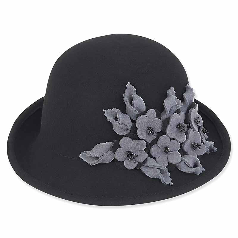 ad968 adora hats wool felt cloche with two tone floral trim