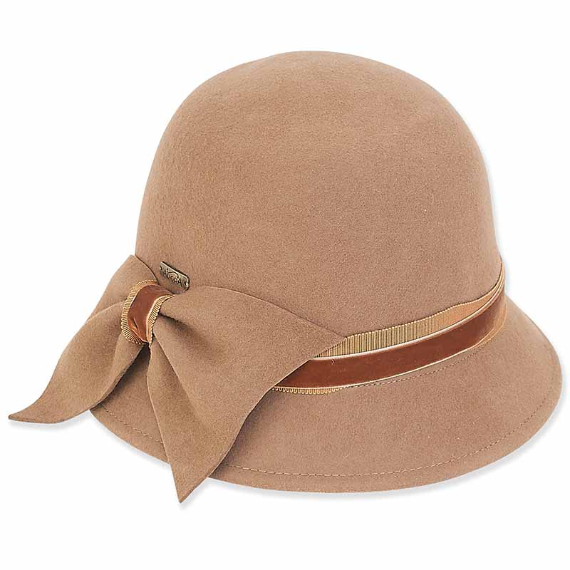 ad971 adora hats cloche with bow pecan