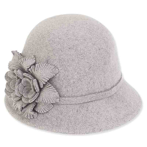 ad984 adora hats wool felt cloche with floral trim grey