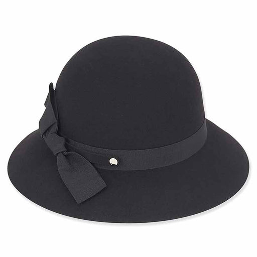 ad986 adora hat black wool felt cloche with tilted ribbon bow