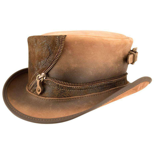 Eureka Leather Steampunk Top Hat - Olive - SetarTrading Hats