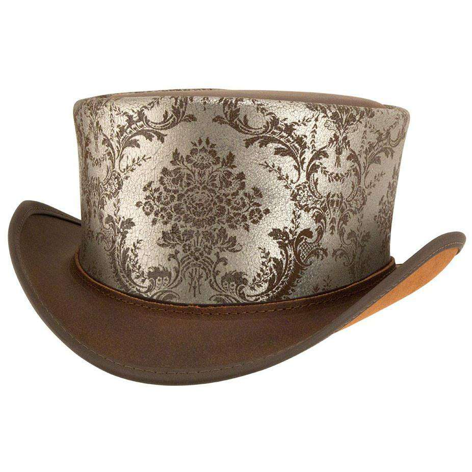 Parlor Leather Steampunk Top Hat - Brown - SetarTrading Hats