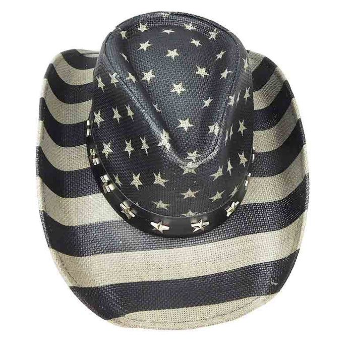 American Flag Cowboy Hat in Black and Grey - Milani