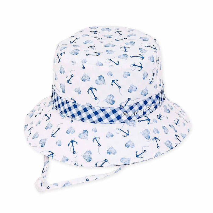 Small Heads Anchors and Hearts Gingham Reversible Cotton Bucket Hat - Sunny Dayz™