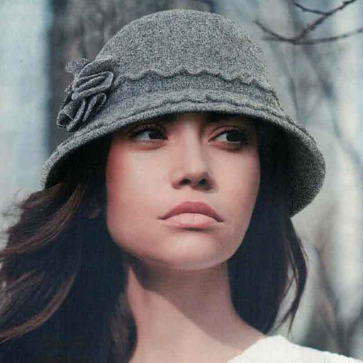 ad1070 adora hats soft wool cloche with floral and scalloped accents grey
