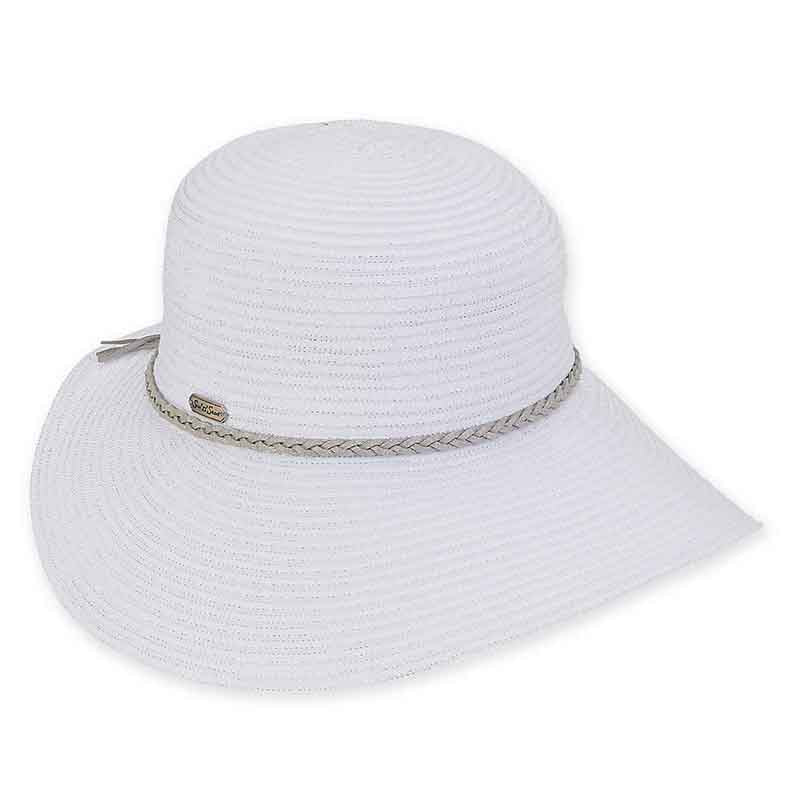 Asymmetrical Brim Ribbon Hat with Metallic Thread - Sun 'N' Sand®