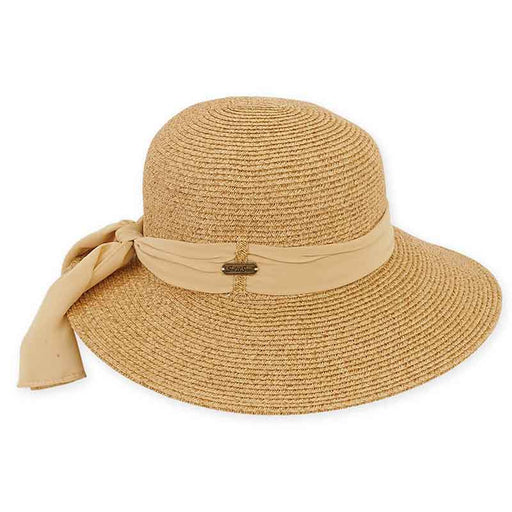 XL Size Women's Hats: Asymmetrical Brim Sun Hat with Sash - Sun'N'Sand®