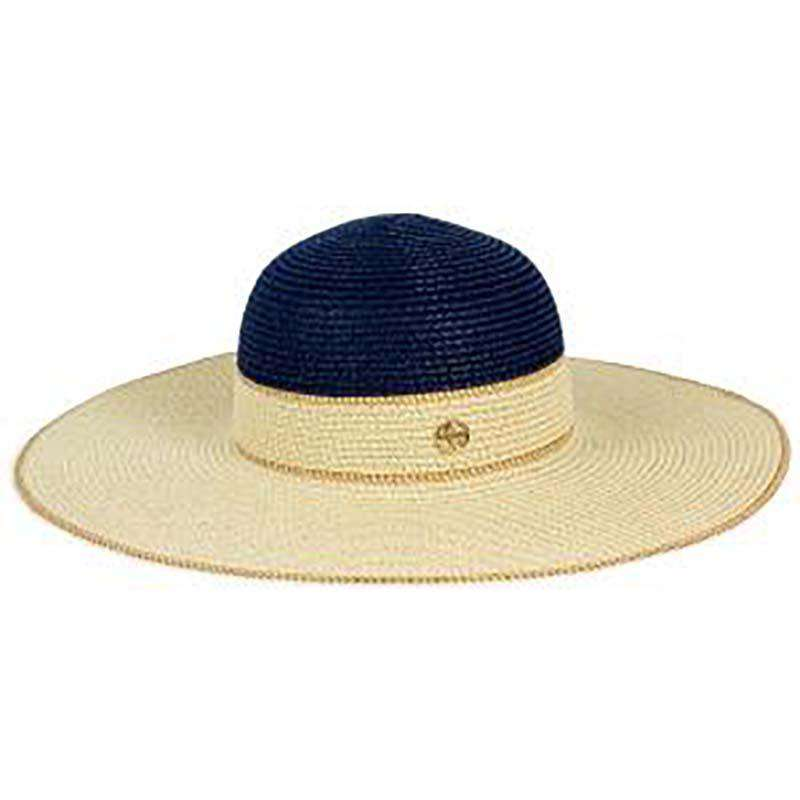 Navy and Natural Summer Floppy Hat - Adrianne Vittadini