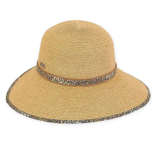 Backless Facesaver Hat with Animal Print Trim - Sun 'N' Sand