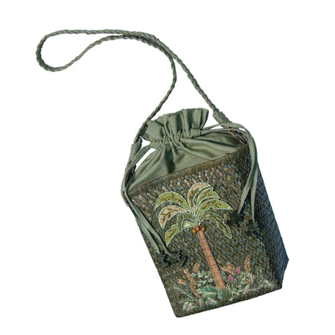 Cappelli's Seagrass Bag with Palm Tree Embroidery