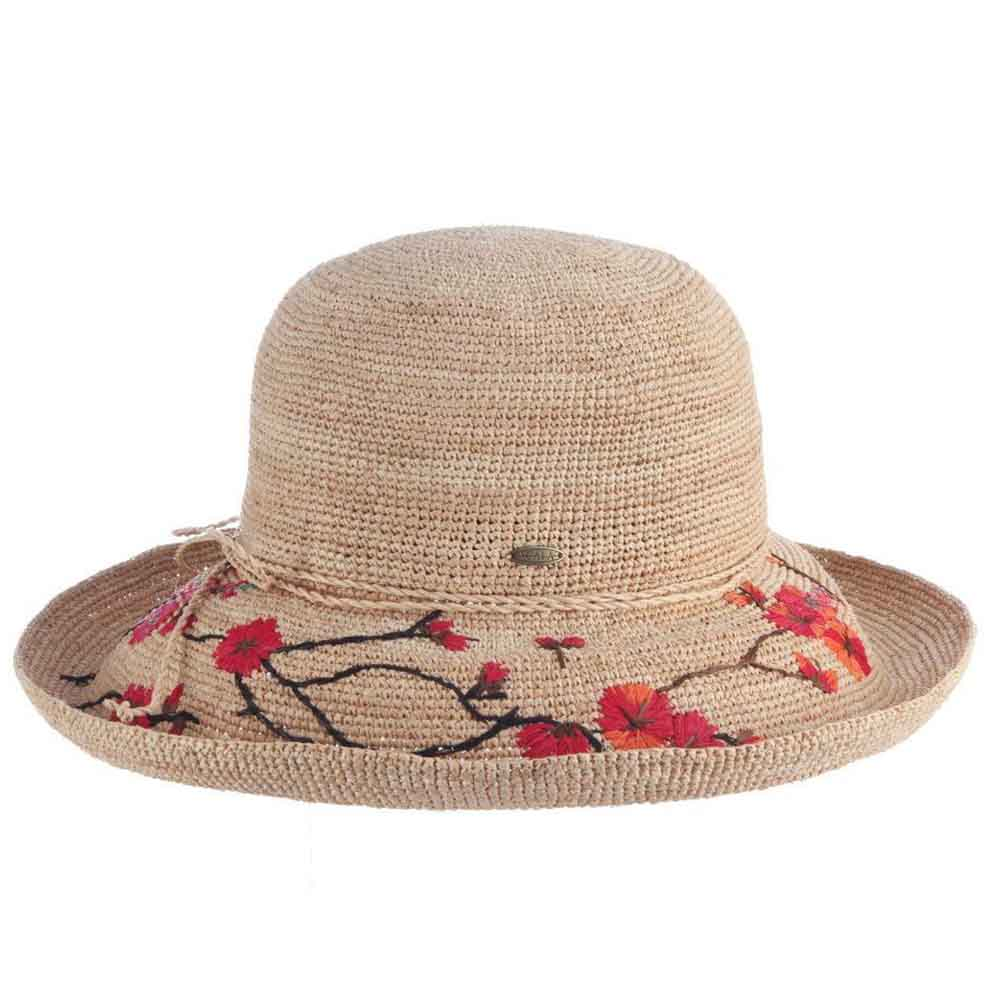 Bagatelle Crocheted Raffia Straw Hat with Floral Embroidery - Scala Hats