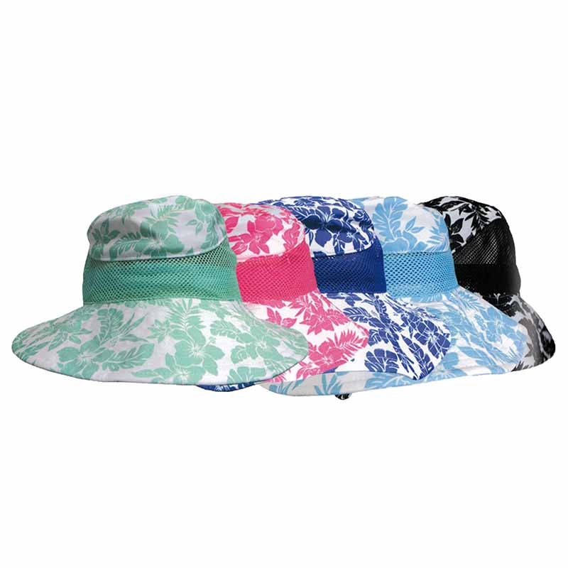 Hibiscus Performance Fabric Mesh Side Bucket Hat - Banana Boat