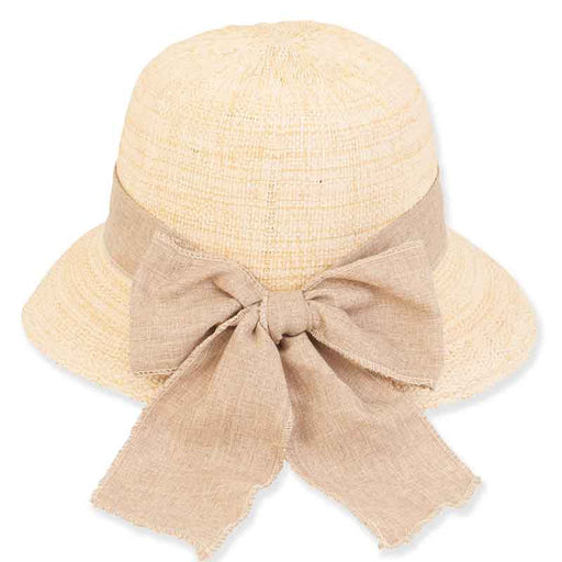 Bangkok Toyo Cloche Hat with Large Linen Bow - Sun 'n' Sand®