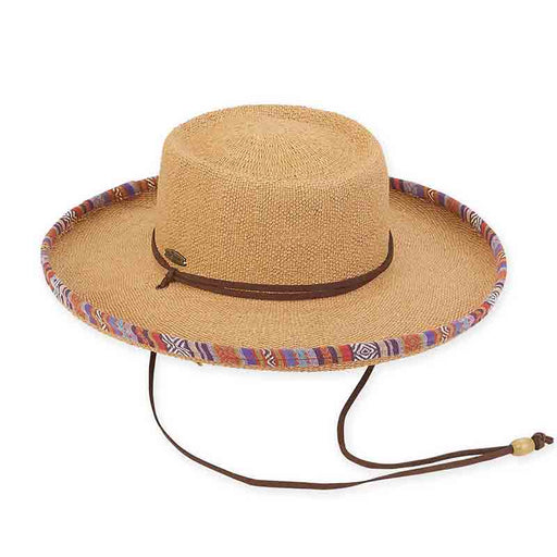 Bangkok Toyo Gaucho Hat with Aztec Trim - Caribbean Joe™