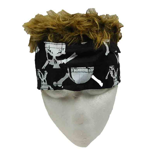 Skull Black Bandana with Brown Hair