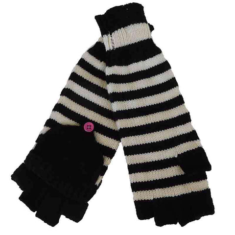 Black and White Striped Mittens by JSA