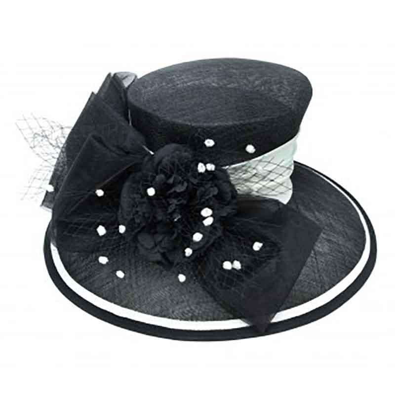 Black and White Sinamay Dress Hat with Satin Band - SetarTrading Hats