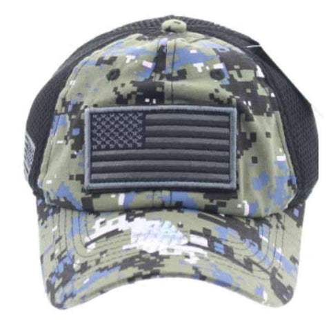 Camo USA Flag Caps with Mesh Back - HQ
