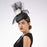 Black and White Flower Crinoline Pillbox Cocktail Hat - KaKyCO