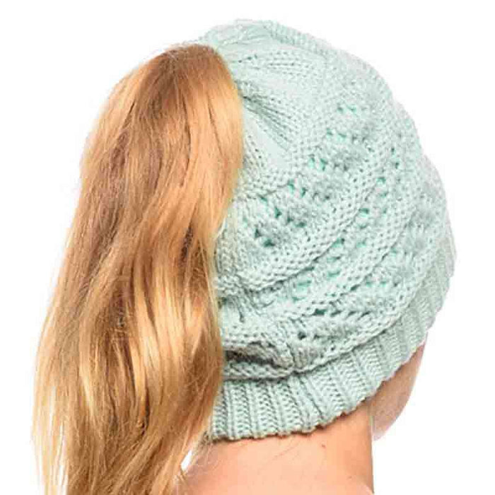 Ponytail Beanie with Plush Fleece Lining - Angela & William