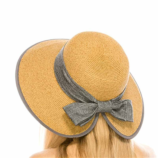 boardwalk lampshade hat style wide brim grey linen band and bow model back