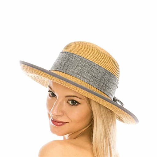 boardwalk lampshade hat style wide brim grey linen band and bow shapeable brim