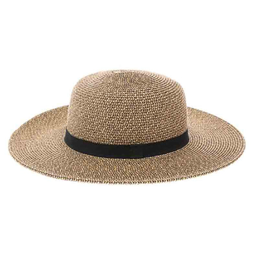boardwalk wide brim sun protection hat black heather chin strap women