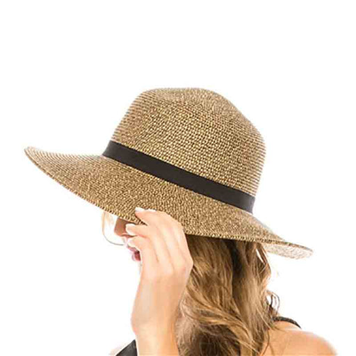 boardwalk wide brim sun protection hat black heather chin strap women model