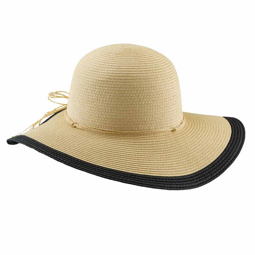 Straw Floppy Hat with Contrast Edge Brim - Tropical Trends