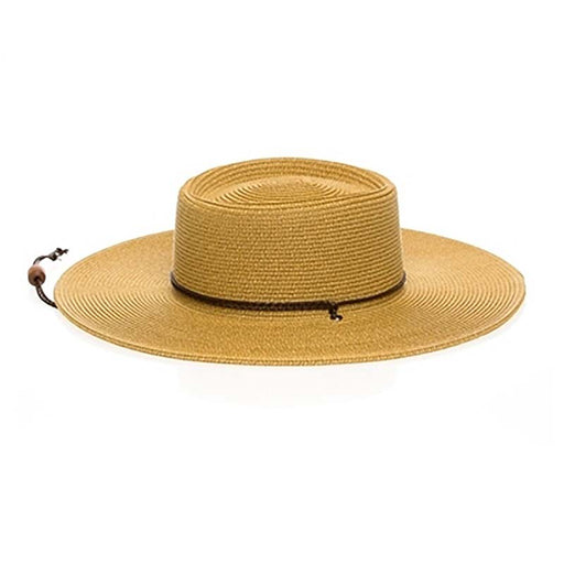 boardwalk wide brim sun protection hat natural heather chin strap women