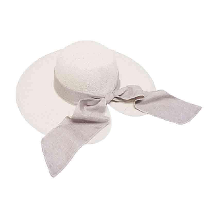 Woven Straw Sun Hat with Split Brim - Beige Linen Band and Bow