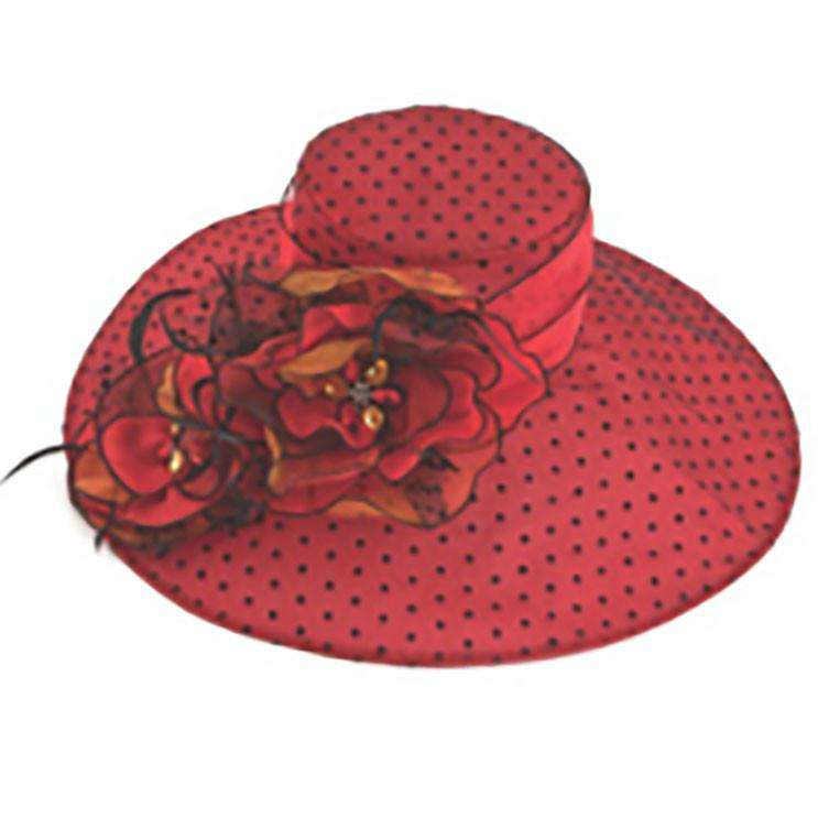 Polka Dot Organza with Large Flower Accent - SetarTrading Hats